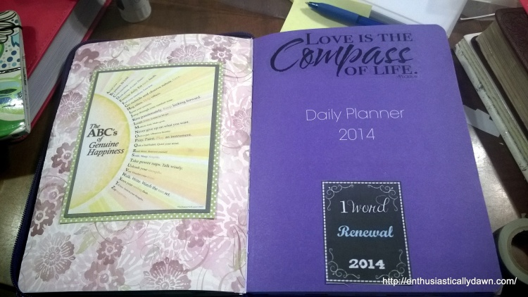 I wanted to fill my planner with positive and pretty things that inspired me. This is one that had caught my eye going throughthe Facebook Feeds. I included my One Word for 2014!