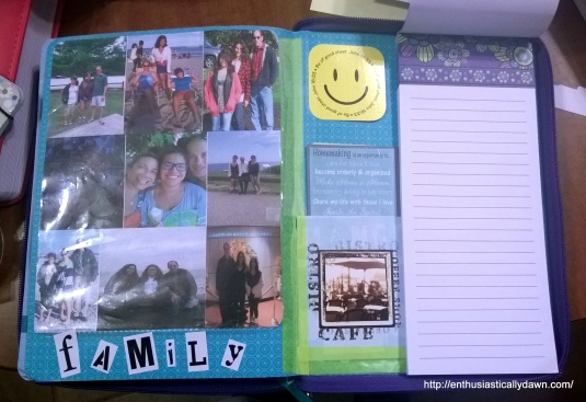 I glued a notepad in the back for notes and lists on the go, made another pocket on the back cover, added the family stickers, and smiley for good measure!